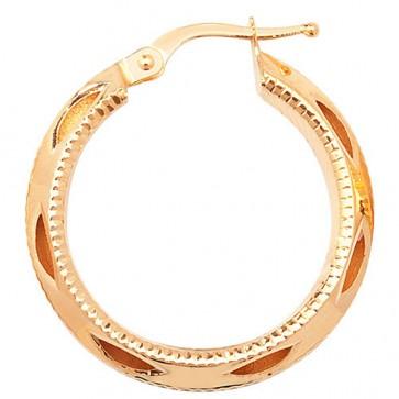 9ct Yellow Gold Medium Round Diamond Cut Earrings