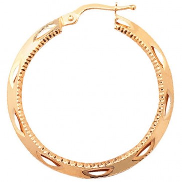 9ct Yellow Gold Large Round Diamond Cut Earrings