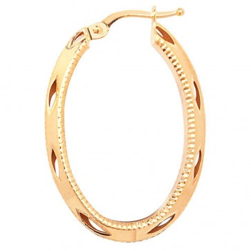 9ct Yellow Gold Oval Diamond Cut Earrings