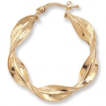 9ct Yellow Gold Small Twisted Hoop Earrings