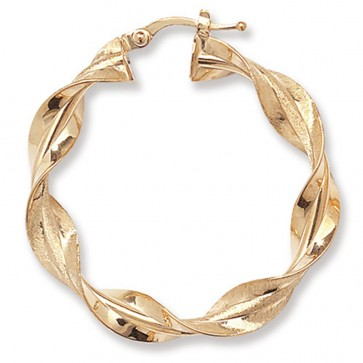 9ct Yellow Gold Medium Twisted Hoop Earrings