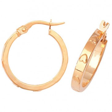 9ct Yellow Gold Large Heart Hoop Earrings