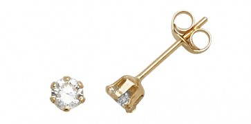 9ct Yellow Gold 3MM Cubic Zirconia Stud Earrings