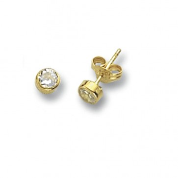 9ct Yellow Gold 4MM Round Cubic Zirconia Stud Earrings