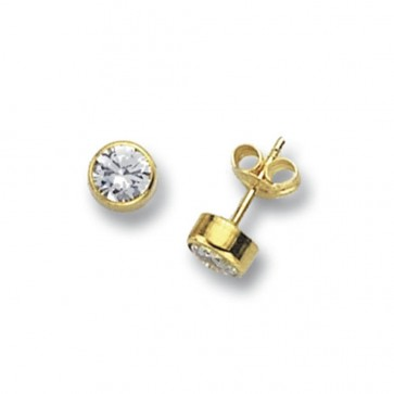 9ct Yellow Gold 6MM Round Cubic Zirconia Stud Earrings