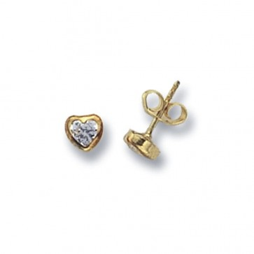 9ct Yellow Gold Heart Cubic Zirconia Stud Earrings