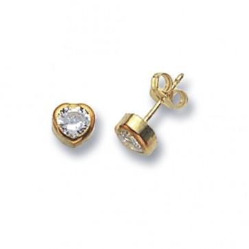 9ct Yellow Gold Heart Cubic Zirconia Stud Earrings