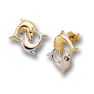 9ct Yellow and White Gold Dolphin Stud Earrings
