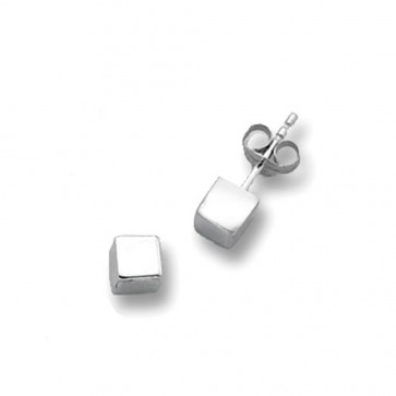 9ct White Gold Cube Stud Earrings