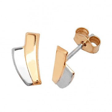 9ct Yellow & White Gold Stud Earrings