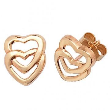 9ct Yellow Gold Double Heart Stud Earrings