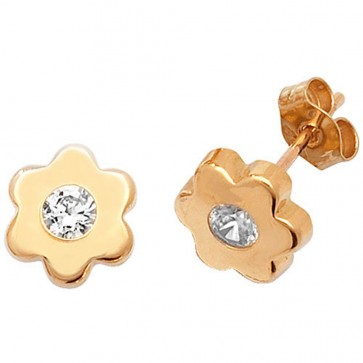 9ct Yellow Gold Daisy With Cubic Zirconia Stud Earrings