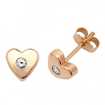 9ct Yellow Gold Heart With Cubic Zirconia Stud Earrings