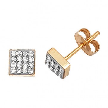 9ct Yellow Gold Square Cubic Zirconia Stud Earrings