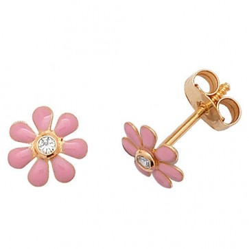9ct Yellow Gold Cubic Zirconia Pink Flower Stud Earrings