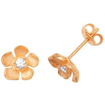 9ct Yellow Gold Flower With Cubic Zirconia Stud Earrings