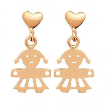 9ct Yellow Gold Gingerbread Women Drop Earrings