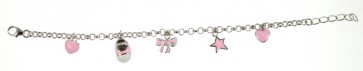 Childrens Sterling Silver Pale Pink Bracelet
