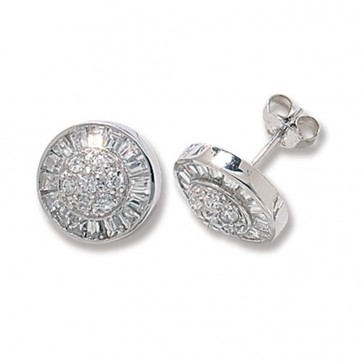 Sterling Silver Cubic Zirconia Round Stud Earrings