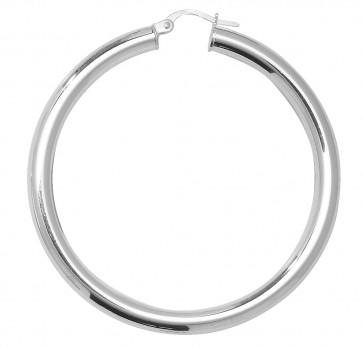 Sterling Silver 4MM Thick 50MM Hoop Earrings
