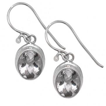 Sterling Silver Clear Crystal Celtic Oval Drop Earrings