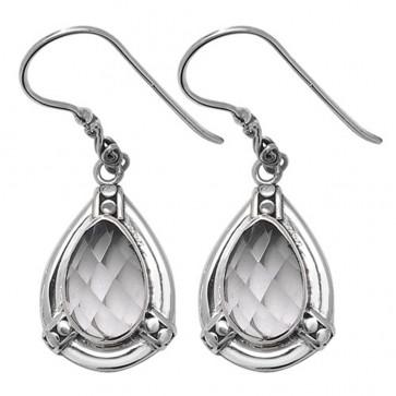 Sterling Silver Clear Crystal Celtic Drop Earrings