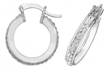 Sterling Silver 15MM Crystal Hoop Earrings