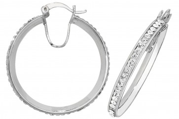 Sterling Silver 30MM Crystal Hoop Earrings