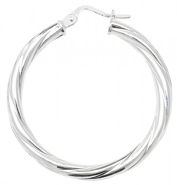 Sterling Silver Twisted 3MM Thick 33MM Hoop Earrings