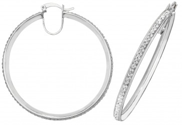 Sterling Silver 45MM Crystal Hoop Earrings