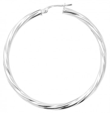 Sterling Silver Twisted 3MM Thick 47MM Hoop Earrings