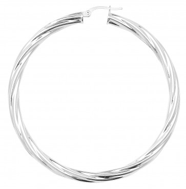 Sterling Silver Twisted 4MM Thick 60MM Hoop Earrings