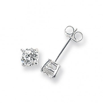 Sterling Silver 5MM Cubic Zirconia Round Stud Earrings