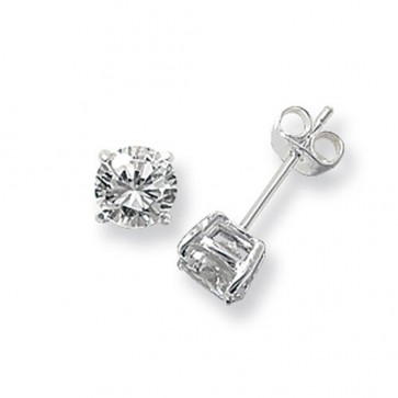 Sterling Silver 6MM Cubic Zirconia Round Stud Earrings