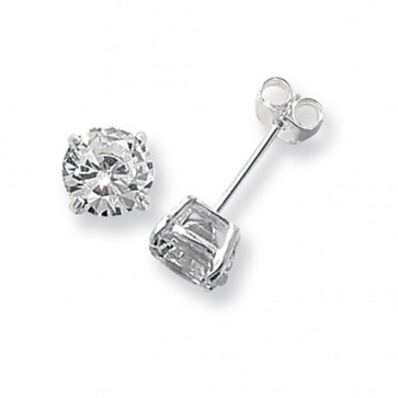 Sterling Silver 7MM Cubic Zirconia Round Stud Earrings