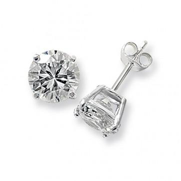Sterling Silver 9MM Cubic Zirconia Round Stud Earrings