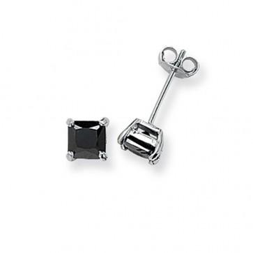 Sterling Silver 5MM Black Cubic Zirconia Square Stud Earrings