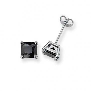 Sterling Silver 6MM Black Cubic Zirconia Square Stud Earrings