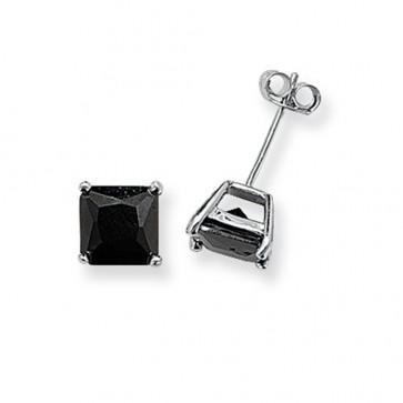 Sterling Silver 7MM Black Cubic Zirconia Square Stud Earrings
