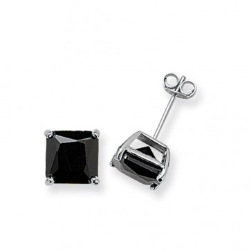 Sterling Silver 8MM Black Cubic Zirconia Square Stud Earrings