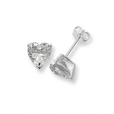 Sterling Silver 8MM Cubic Zirconia Heart Stud Earrings