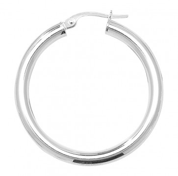 Sterling Silver 3MM Thick 32MM Hoop Earrings