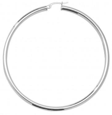 Sterling Silver 3MM Thick 68MM Hoop Earrings