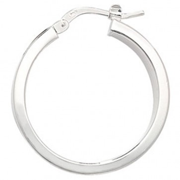 Sterling Silver 24MM Plain Hoop Earrings
