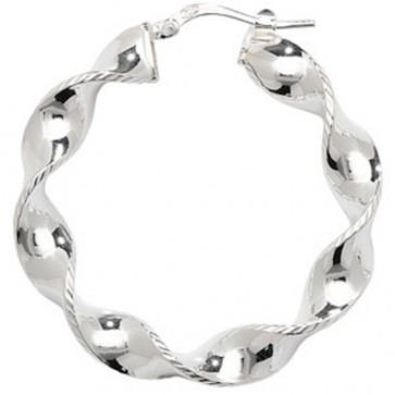 Sterling Silver 36MM Twisted Hoop Earrings