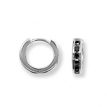 Sterling Silver 14MM Black Cubic Zirconia Hoop Earrings