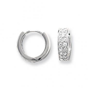 Sterling Silver 15MM Double Banded Cubic Zirconia Hoop Earrings