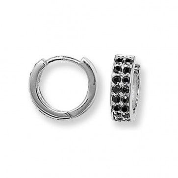 Sterling Silver 15MM Double Banded Black Cubic Zirconia Hoop Earrings