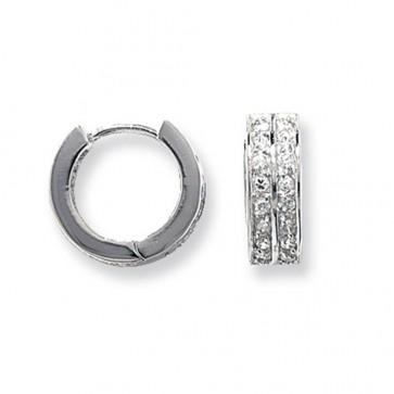 Sterling Silver 15MM Double Cubic Zirconia Hoop Earrings
