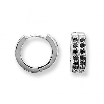 Sterling Silver 15MM Double Black Cubic Zirconia Hoop Earrings